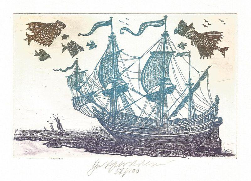 Vychodilová Olga - Loď s létajícími rybami - Grafika
